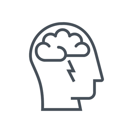 정보 그래픽, 웹 사이트 및 인쇄 매체에 적합한 뇌 폭풍 아이콘. 다채로운 벡터, 평면 아이콘, 클립 아트. 일러스트