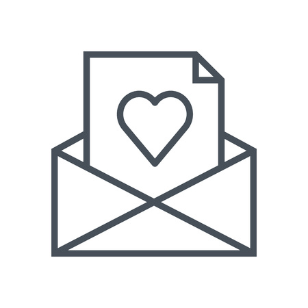 Love letter, mail icon suitable for info graphics, websites and print media. Vector, flat icon, clip art.