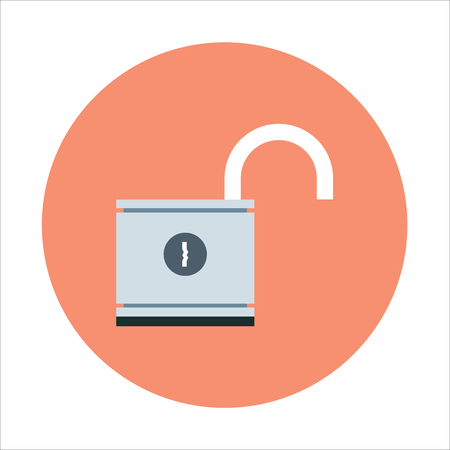 unlocked: Security, unlocked theme, flat style, colorful, vector icon for info graphics, websites, mobile and print media.