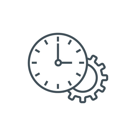 flexible business: Working hours, clock icon suitable for info graphics, websites and print media. Colorful vector, flat icon, clip art.