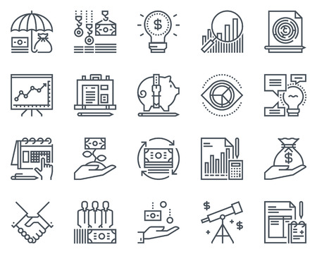 sponsorship: Business and finance icon set suitable for info graphics, websites and print media. Black and white flat line icons. Illustration