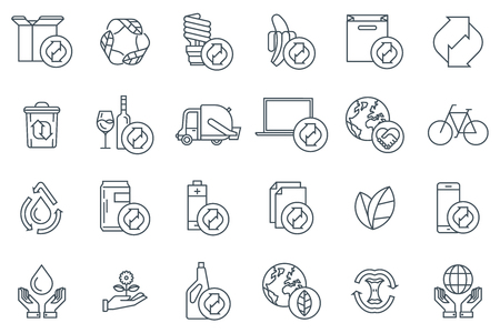 Energy icon set icon set suitable for info graphics, websites and print media. Black and white icons flat line. Ilustrace