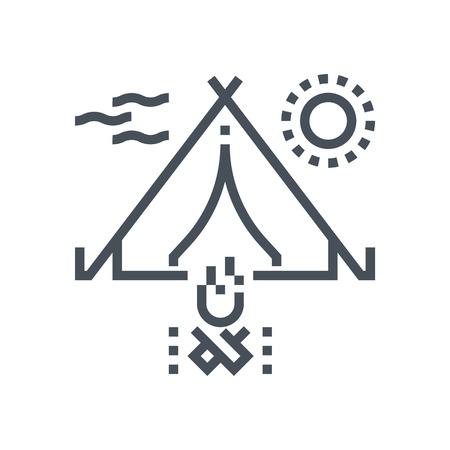 キャンプ アイコン情報グラフィックス、web サイトや印刷媒体とインタ フェースに最適。行ベクトルのアイコン。  イラスト・ベクター素材