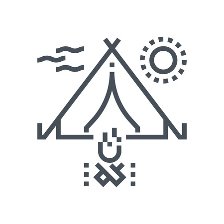 responsive: Camping icon suitable for info graphics, websites and print media and  interfaces. Line vector icon.