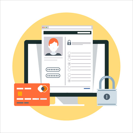 Security, account theme, flat style, colorful, vector icon for info graphics, websites, mobile and print media.
