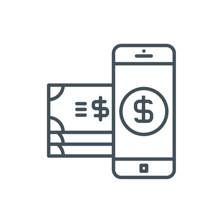 mobile commerce: Mobile commerce icon suitable for info graphics, websites and print media and  interfaces. Line vector icon.
