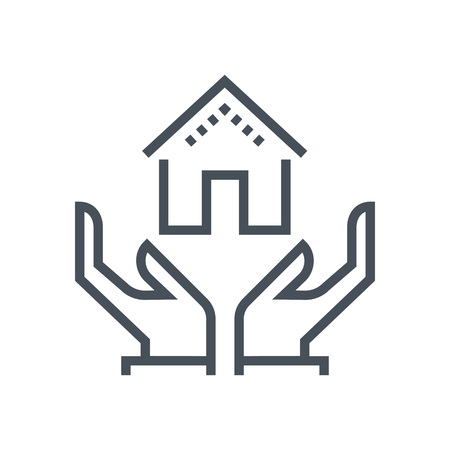 general insurance: House insurance icon suitable for info graphics, websites and print media and  interfaces. Line vector icon.
