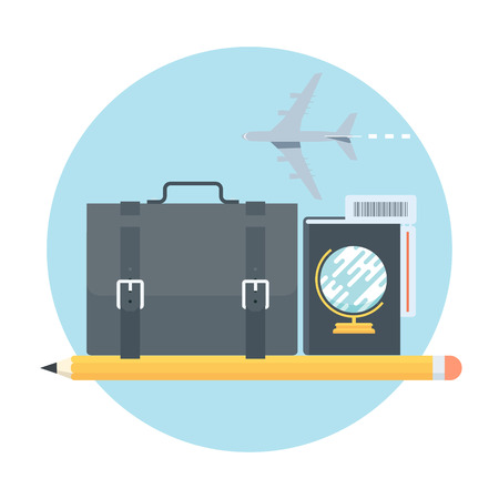 Business travel theme, flat style, colorful, vector icon for info graphics, websites, mobile and print media. 向量圖像