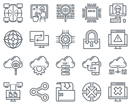 Icono de Internet y tecnología configurado para gráficos de información, sitios web e impresoras e interfaces. Línea de iconos de vector.