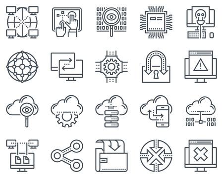 Internet e la tecnologia icona set adatto per informazioni grafiche, siti web e supporti di stampa e interfacce. Icone linea vettoriale.