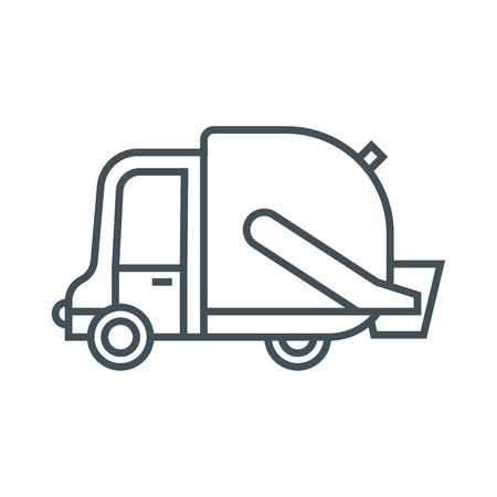 waste management: Waste management, garbage truck icon suitable for info graphics, websites and print media and  interfaces. Line vector icon.