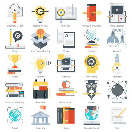 print media: Education theme, flat style, colorful, vector icon set for info graphics, websites, mobile and print media. Illustration