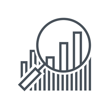 Statistics, analytics, magnifier icon suitable for info graphics, websites and print media and  interfaces. Line vector icon. Illustration