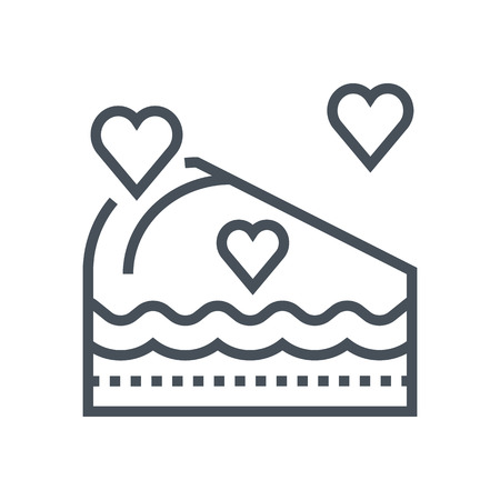 Valentines day cake icon suitable for info graphics, websites and print media. Vector, flat icon, clip art.