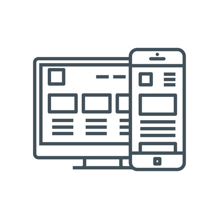 responsive: Responsive, adaptive icon suitable for info graphics, websites and print media and interfaces. Line vector icon.