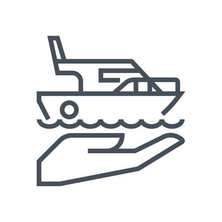 general insurance: Ship, sailboat insurance icon suitable for info graphics, websites and print media and  interfaces. Line vector icon.