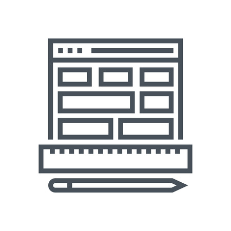 responsive: Wireframe, responsive icon suitable for info graphics, websites and print media and  interfaces. Line vector icon. Illustration