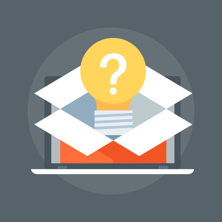 Question out of the box flat style, colorful, vector icon for info graphics, websites, mobile and print media.