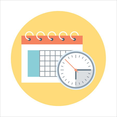 Calendar, time management flat style, colorful, vector icon for info graphics, websites, mobile and print media.