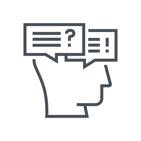 conflictos sociales: Conflict, discussion icon suitable for info graphics, websites and print media and  interfaces. Human face, head, line vector icon.