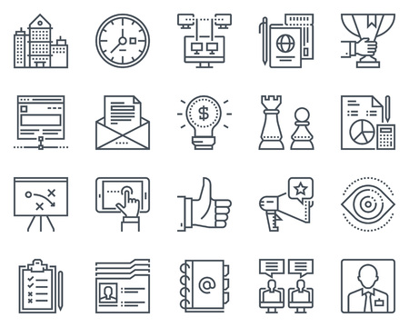 Business, office icon set suitable for info graphics, websites and print media. Black and white flat line icons.