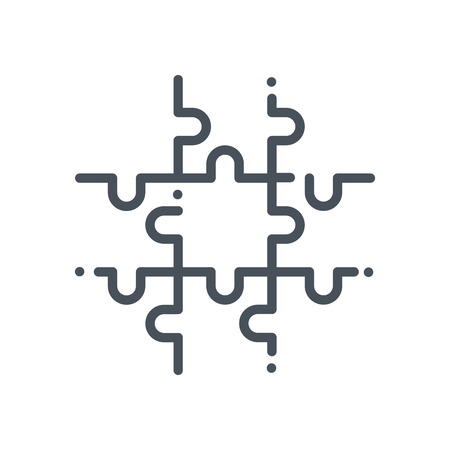 Jigsaw puzzle icon suitable for info graphics, websites and print media and  interfaces. Hand drawn style, line, vector icon.