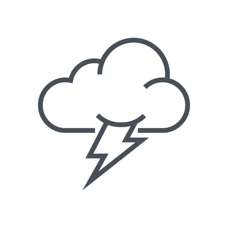 Thunder and cloud icon suitable for info graphics, websites and print media and  interfaces. Line vector icon. Illustration