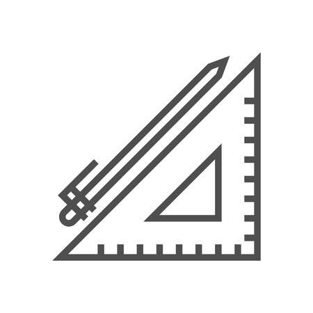 Pen and ruler icon suitable for info graphics, websites and print media and  interfaces. Line vector icon.