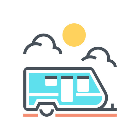 print media: Caravan icon suitable for info graphics, websites and print media and  interfaces. Line vector icon. Illustration