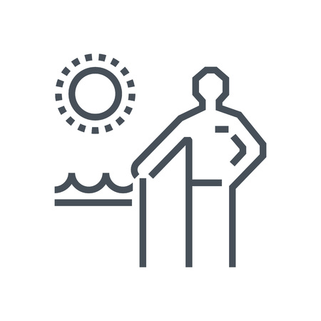 Summer holiday, retirement icon suitable for info graphics, websites and print media and interfaces. Line vector icon.