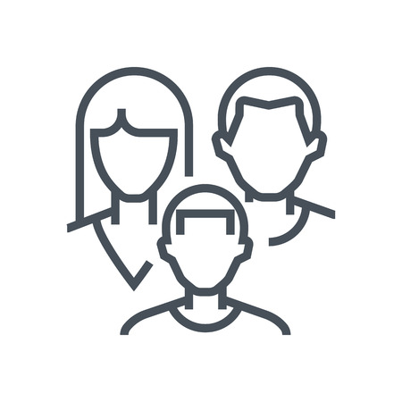 Family insurance icon suitable for info graphics, websites and print media and  interfaces. Line vector icon. Illustration