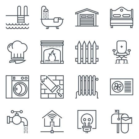 Onroerend goed icon set geschikt voor info graphics, websites en gedrukte media. Zwart-wit vlakke lijn pictogrammen. Stock Illustratie