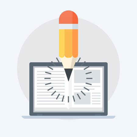 Notebook and Pencil flat style, colorful, vector icon for info graphics, websites, mobile and print media. Illustration