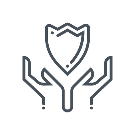 general insurance: Hands and shield icon suitable for info graphics, websites and print media and  interfaces. Hand drawn style, line vector icon. Illustration