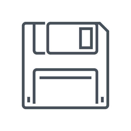 Floppy diskette, save icon suitable for info graphics, websites and print media and  interfaces. Line vector icon.
