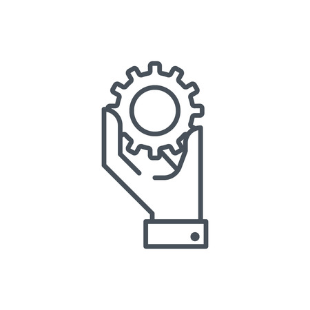 Hand holding a gear icon suitable for info graphics, websites and print media and  interfaces. Line vector icon.