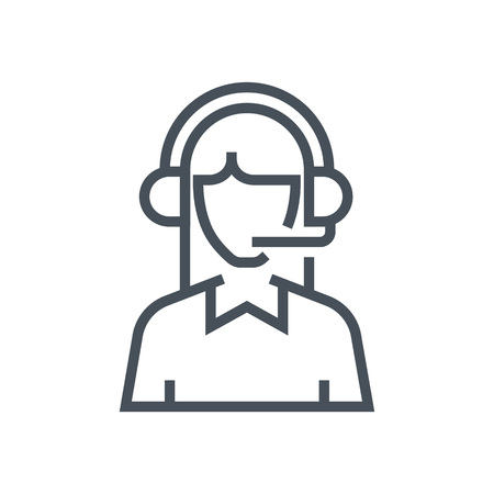call centre girl: Male customer service icon suitable for info graphics, websites and print media and  interfaces. Line vector icon. Illustration