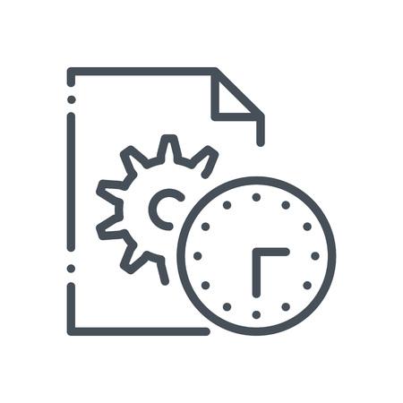 Gestione dei contenuti, icona di ingranaggi adatta per informazioni grafiche, siti Web e supporti di stampa e interfacce. Stile disegnato a mano, icona di vettore di linea perfetta pixel. Archivio Fotografico - 55935860