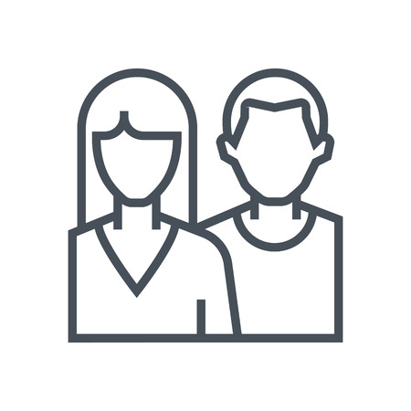 male face: Couple icon suitable for info graphics, websites and print media. Vector, flat icon, clip art. Illustration