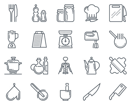fryer: Kitchen, kitchenware icon set suitable for info graphics, websites and print media and  interfaces. Line vector icon set.