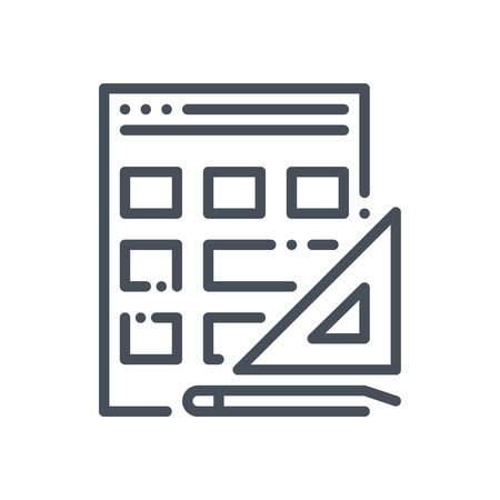 Wireframe, responsive icon suitable for info graphics, websites and print media and  interfaces. Hand drawn style, pixel perfect line vector icon.