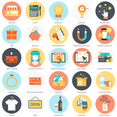printing out: Shopping theme, flat style, colorful, vector icon set for info graphics, websites, mobile and print media.