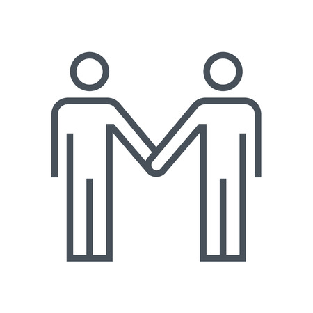 fair play: Partnership, handshake icon suitable for info graphics, websites and print media. Colorful vector, flat icon, clip art.