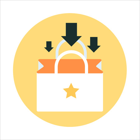 package printing: Add to Shopping bag theme, flat style, colorful, vector icon for info graphics, websites, mobile and print media.