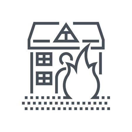 火災保険アイコン情報グラフィックス、web サイトや印刷媒体とインターフェイスに適して。行ベクトルのアイコン。  イラスト・ベクター素材