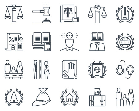 Derecho y la justicia icono conjunto adecuado de información de gráficos, páginas web y medios impresos. iconos de línea plana en blanco y negro. Ilustración de vector
