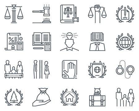 Droit et justice icon set adapté pour informations graphiques, sites Web et les médias imprimés. icônes noir et blanc ligne plat. Vecteurs