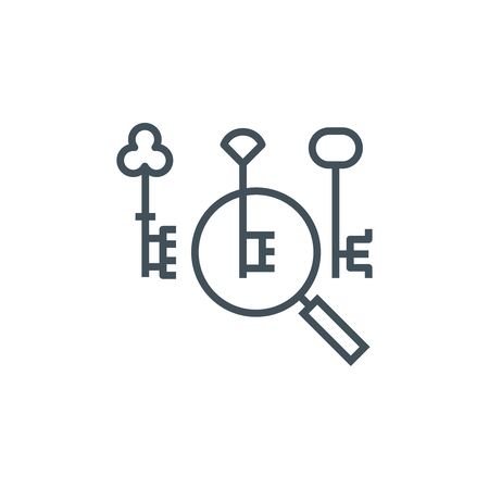 keyword research: Key word search icon suitable for info graphics, websites and print media and  interfaces. Line vector icon.
