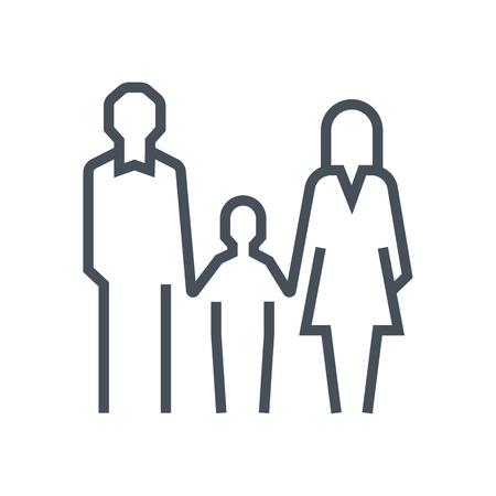 Famille icône appropriée pour informations graphiques, sites Web et les médias imprimés et les interfaces loi. Ligne icône vecteur. Visage humain, tête, ligne vecteur icône.