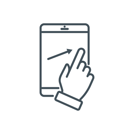 multi finger: Touch screen icon suitable for info graphics, websites and print media and  interfaces. Line vector icon. Illustration